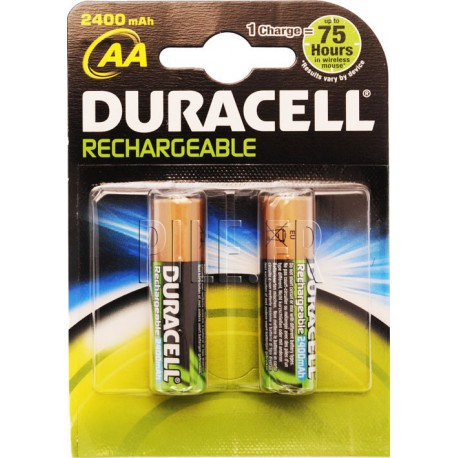 Piles LR6 AA rechargeables DURACELL 2400 mAh