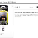 Chargeur Duracell 4 heures + 2xAA 1300mAh